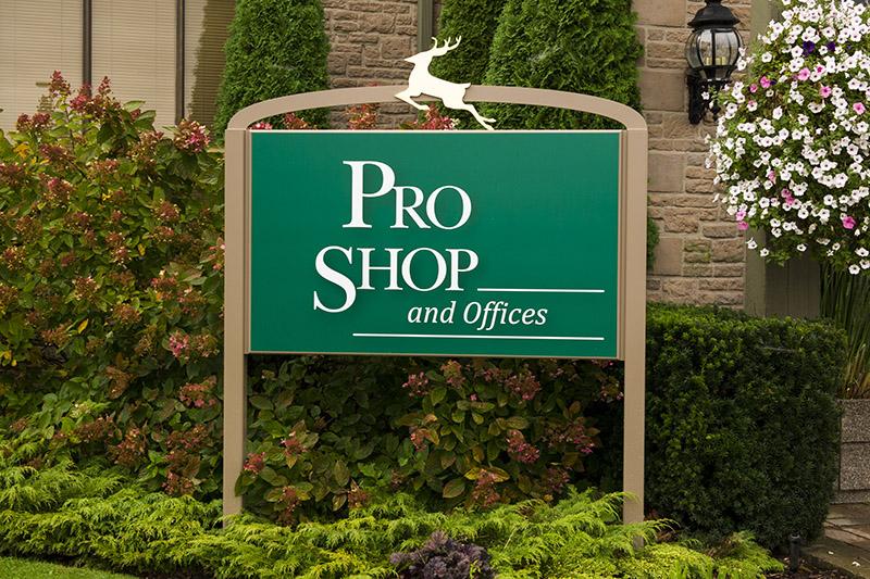 Pro Shop, Sign, Gold, Deer